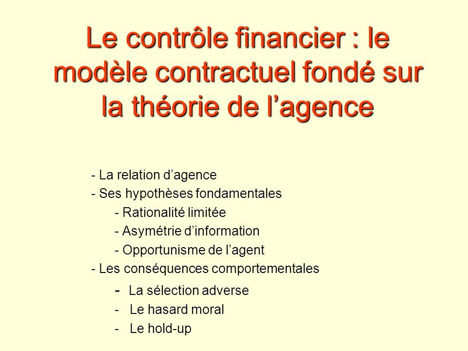 Le contrôle financier : le modèle contractuel fondé sur la théorie de l'agence