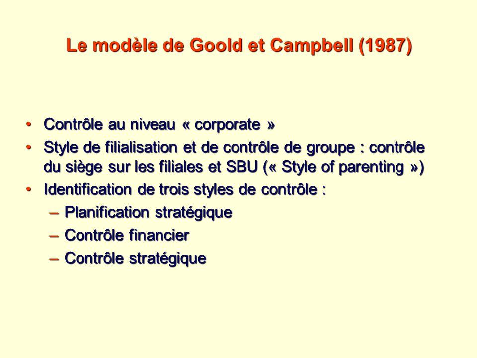 Le modèle de Goold et Campbell (1987)