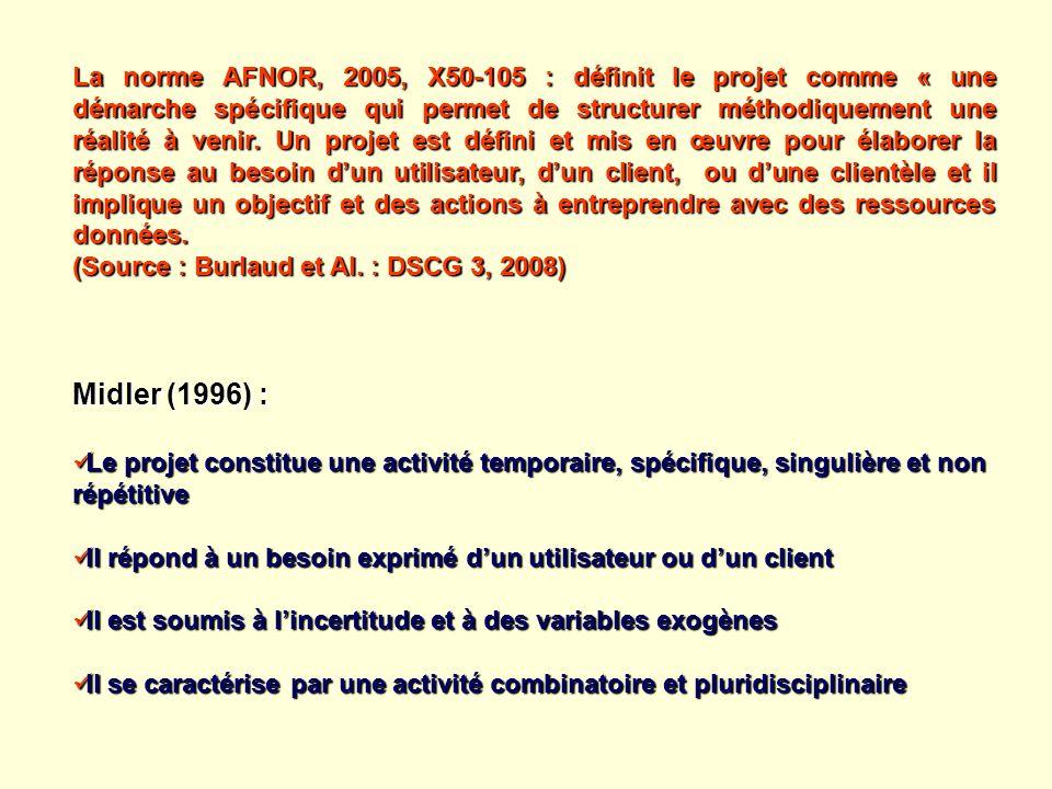 La norme AFNOR, 2005, X50-105 : définit le projet comme « une démarche spécifique qui permet de structurer méthodiquement une réalité à venir. Un projet est défini et mis en œuvre pour élaborer la réponse au besoin d'un utilisateur, d'un client, ou d'une clientèle et il implique un objectif et des actions à entreprendre avec des ressources données.