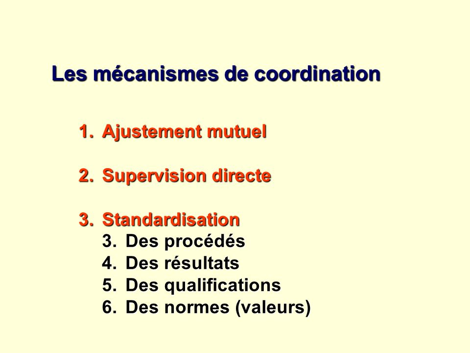 Les mécanismes de coordination