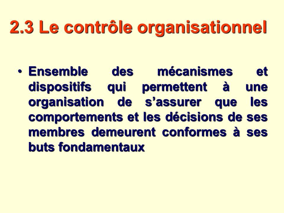 2.3 Le contrôle organisationnel