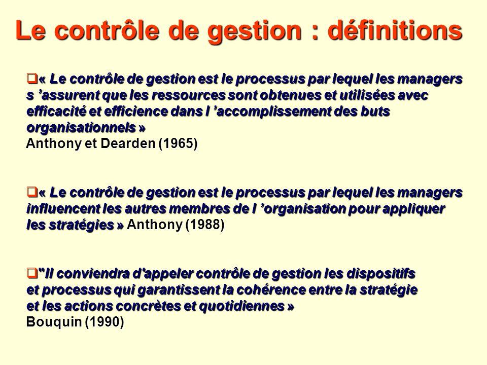 Le contrôle de gestion : définitions