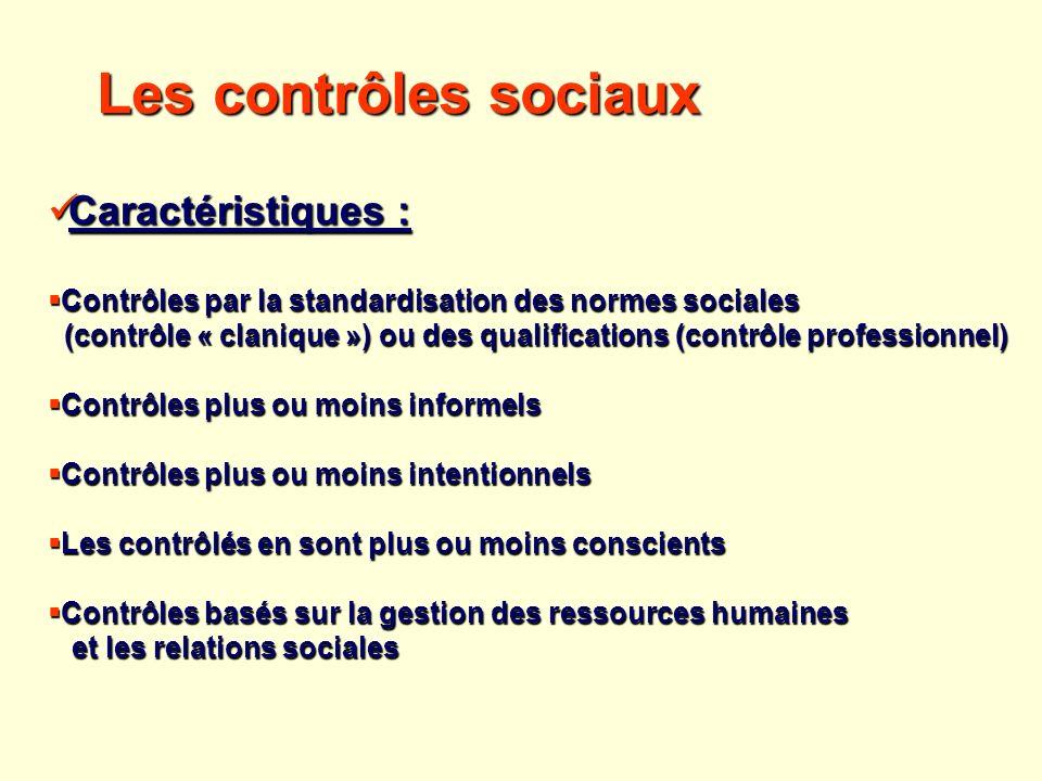 Les contrôles sociaux Caractéristiques :