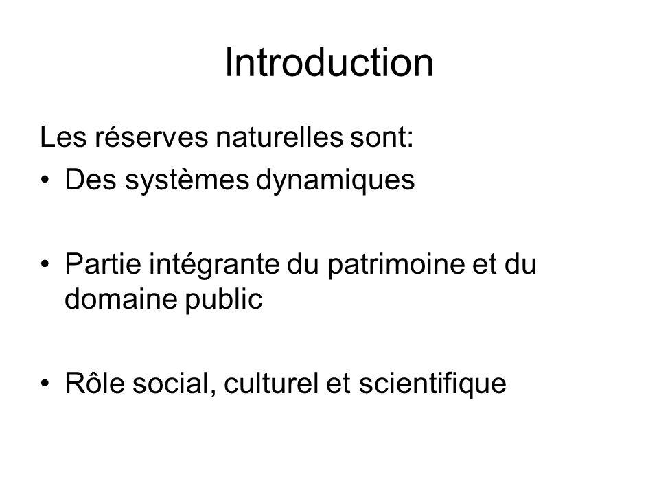 Introduction Les réserves naturelles sont: Des systèmes dynamiques