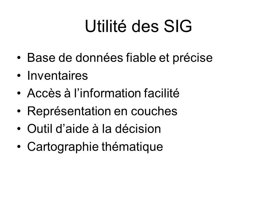 Utilité des SIG Base de données fiable et précise Inventaires