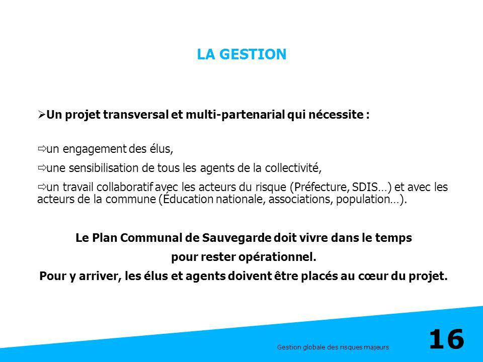 LA GESTION Un projet transversal et multi-partenarial qui nécessite :