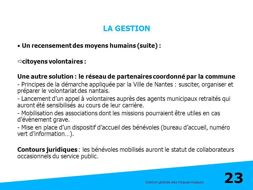 LA GESTION Un recensement des moyens humains (suite) :