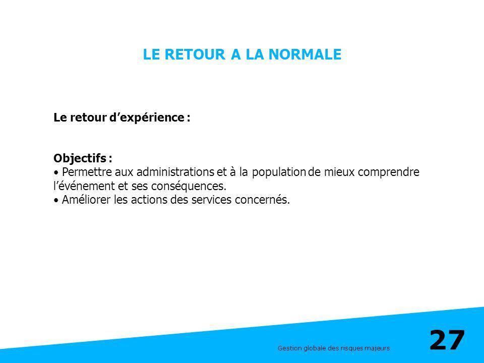 LE RETOUR A LA NORMALE Le retour d'expérience : Objectifs :