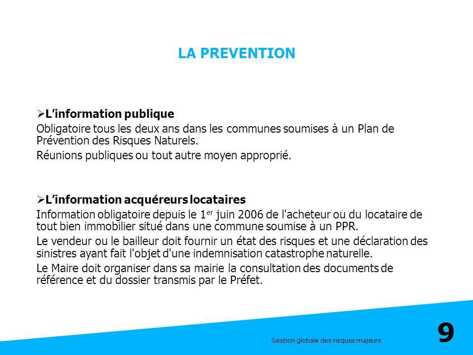 LA PREVENTION L'information publique