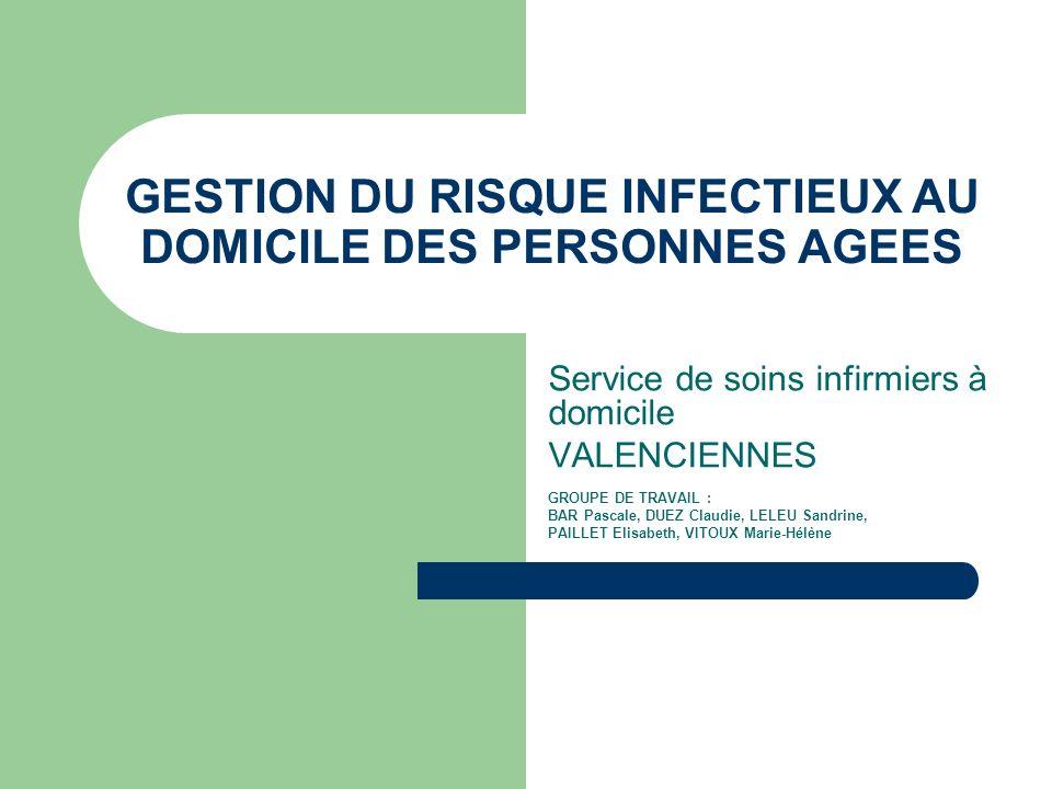 GESTION DU RISQUE INFECTIEUX AU DOMICILE DES PERSONNES AGEES
