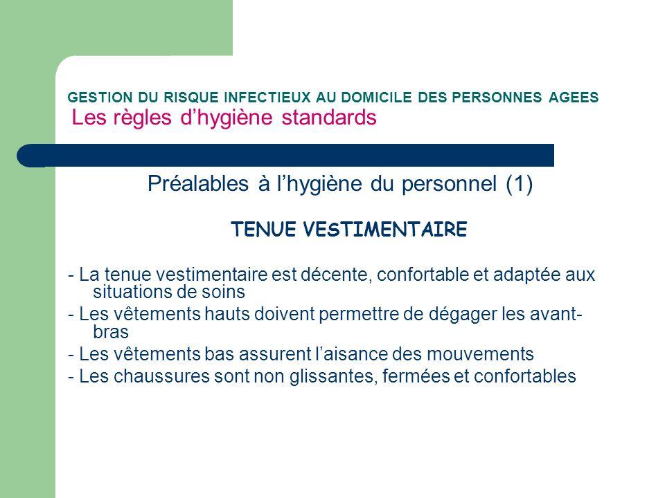 Préalables à l'hygiène du personnel (1)