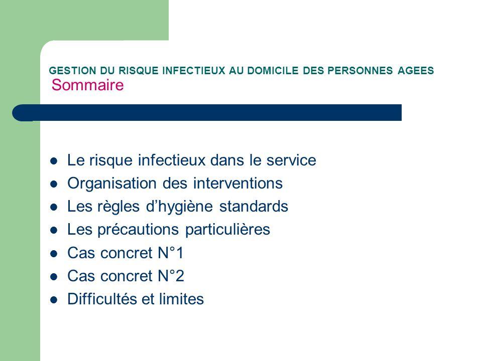 GESTION DU RISQUE INFECTIEUX AU DOMICILE DES PERSONNES AGEES Sommaire