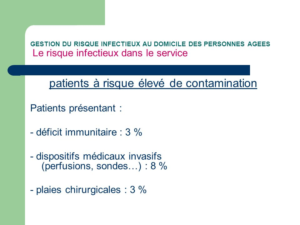 patients à risque élevé de contamination