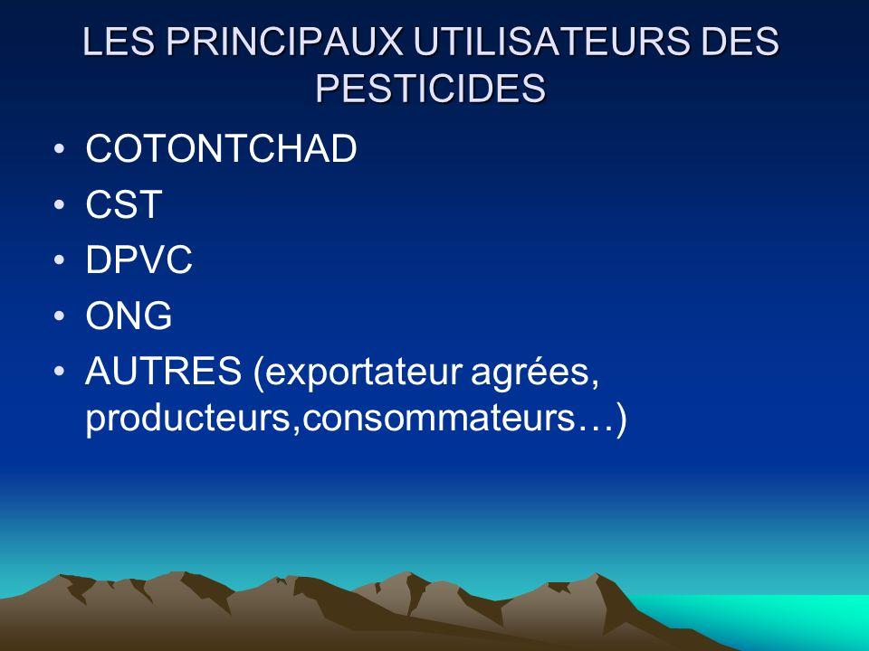 LES PRINCIPAUX UTILISATEURS DES PESTICIDES
