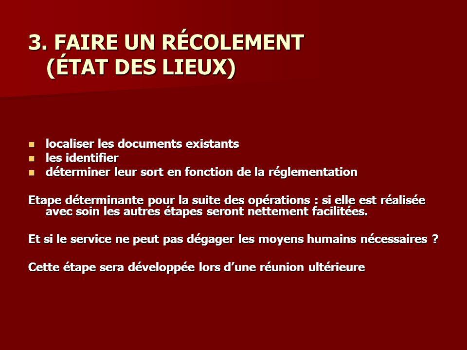 3. FAIRE UN RÉCOLEMENT (ÉTAT DES LIEUX)