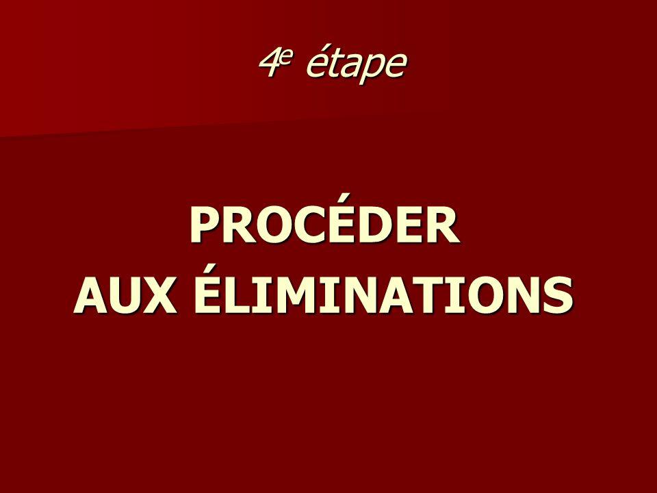 PROCÉDER AUX ÉLIMINATIONS