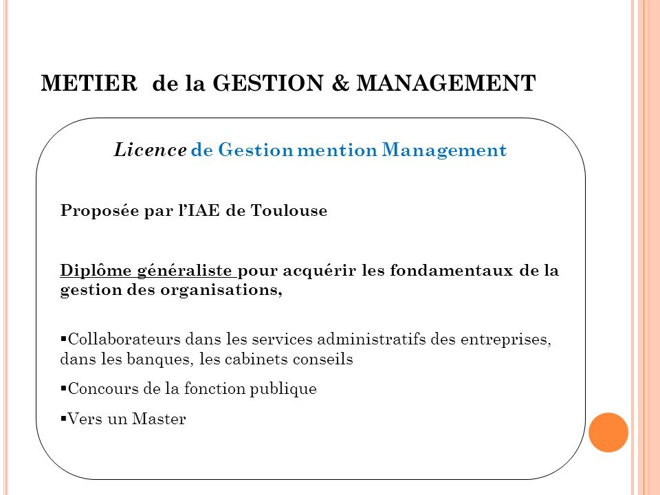 Licence de Gestion mention Management