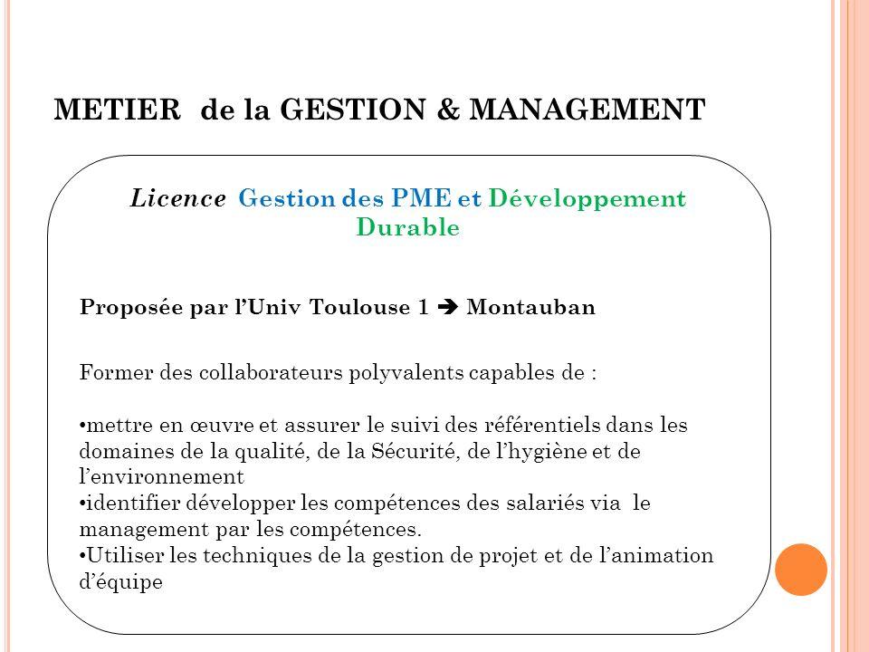 Licence Gestion des PME et Développement Durable