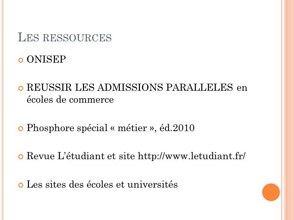 Les ressources ONISEP. REUSSIR LES ADMISSIONS PARALLELES en écoles de commerce. Phosphore spécial « métier », éd.2010.