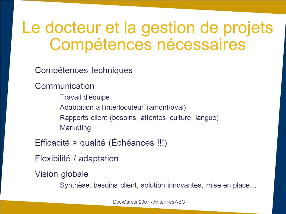 Le docteur et la gestion de projets Compétences nécessaires