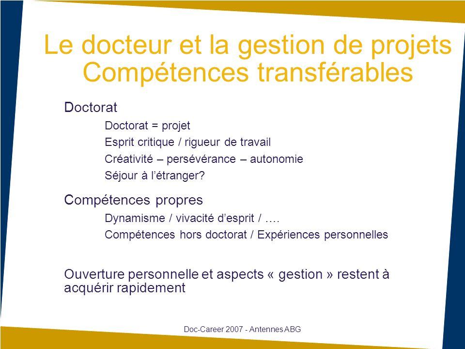 Le docteur et la gestion de projets Compétences transférables