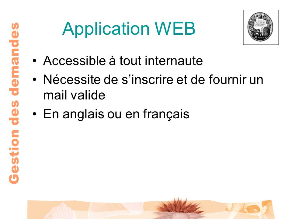 Application WEB Accessible à tout internaute