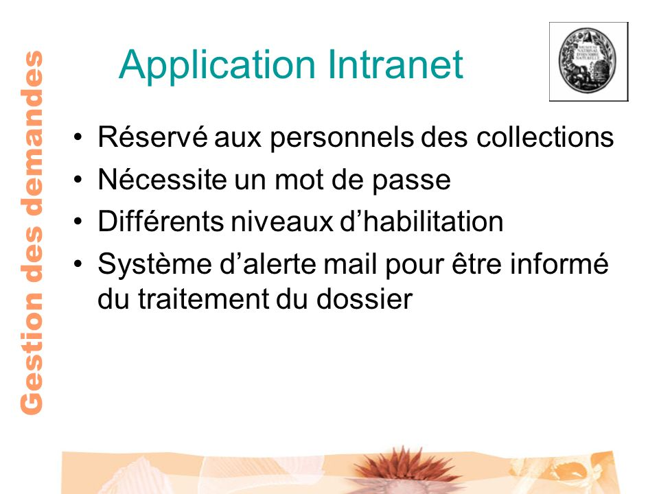 Application Intranet Réservé aux personnels des collections