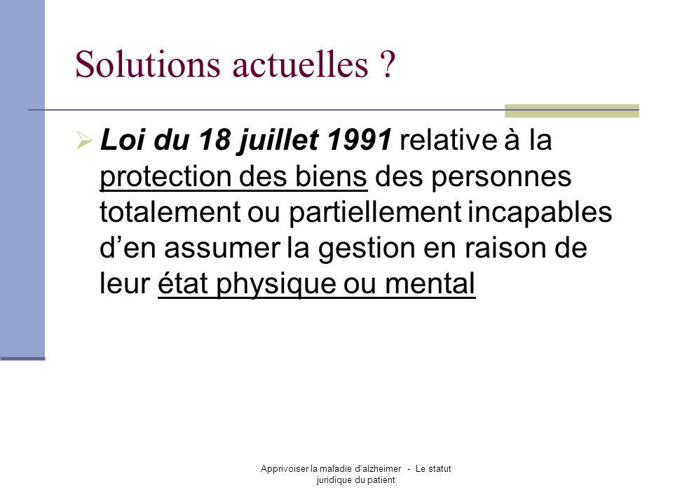 Apprivoiser la maladie d alzheimer - Le statut juridique du patient