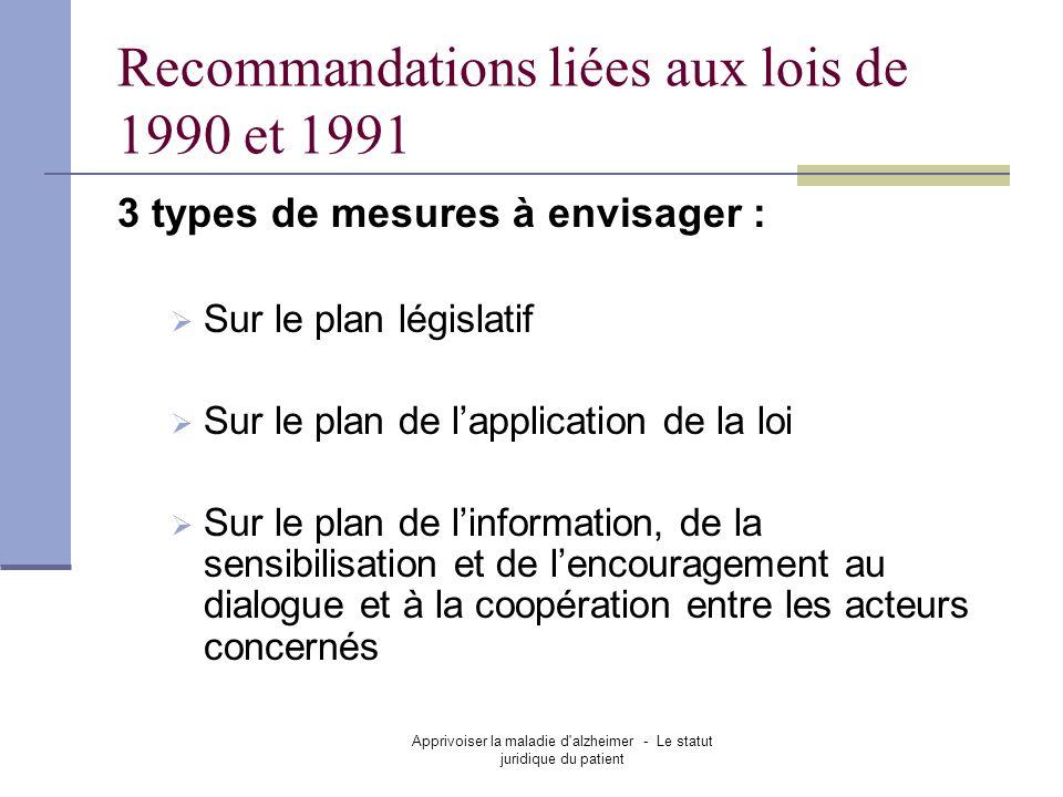 Recommandations liées aux lois de 1990 et 1991