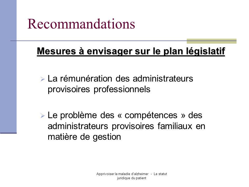 Mesures à envisager sur le plan législatif