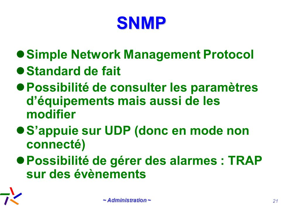 SNMP Simple Network Management Protocol Standard de fait