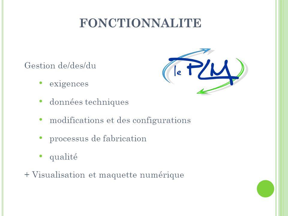 FONCTIONNALITE Gestion de/des/du exigences données techniques