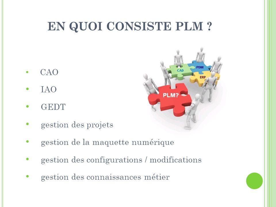 EN QUOI CONSISTE PLM IAO GEDT gestion des projets