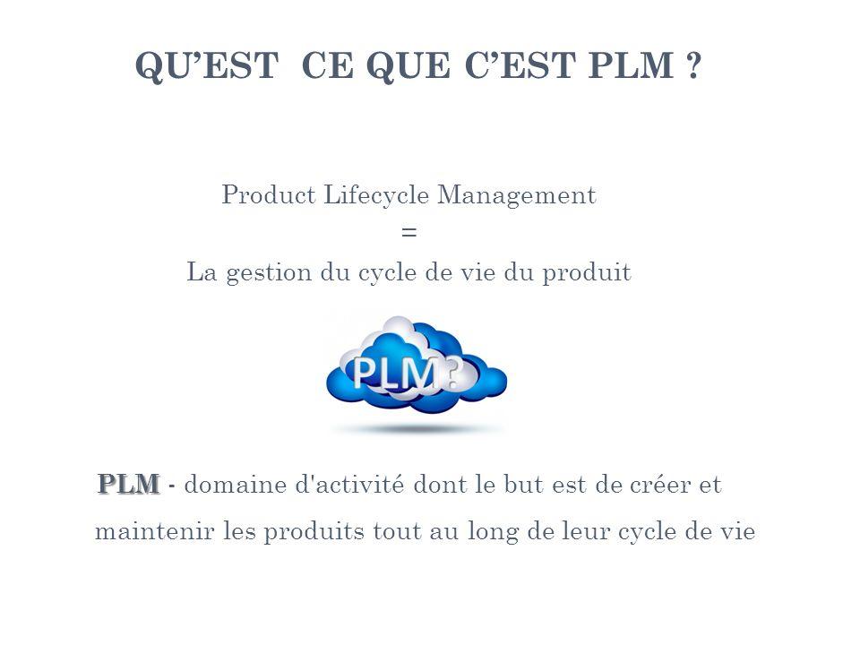 QU'EST CE QUE C'EST PLM Product Lifecycle Management =