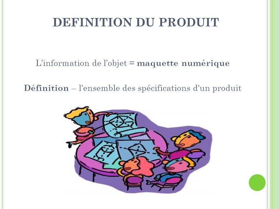 DEFINITION DU PRODUIT L'information de l'objet = maquette numérique