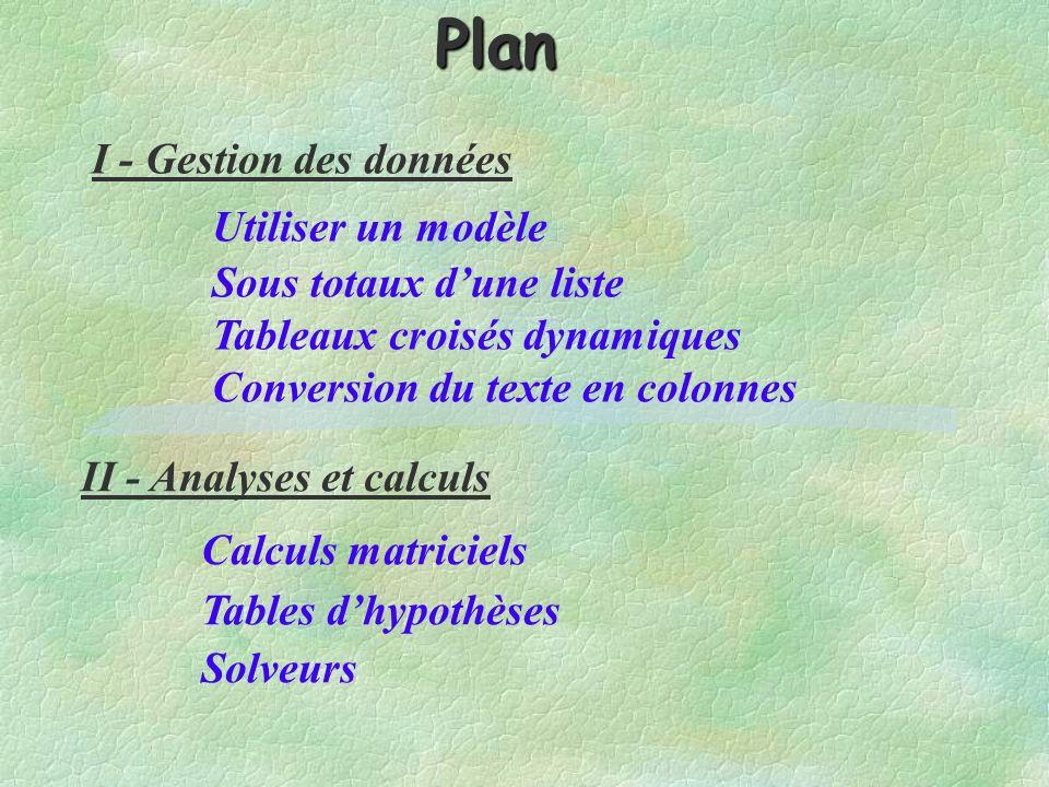 Plan I - Gestion des données Utiliser un modèle