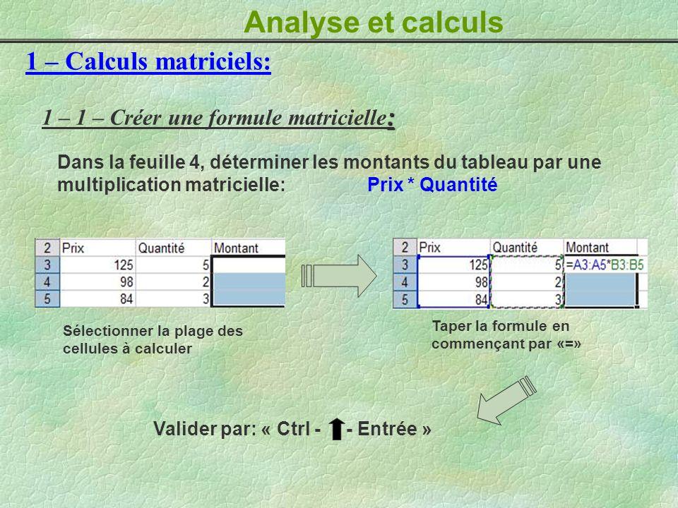 Analyse et calculs 1 – Calculs matriciels: