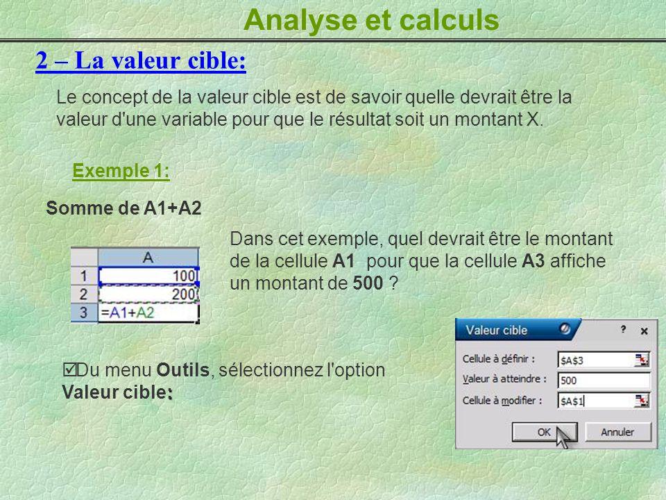 Analyse et calculs 2 – La valeur cible: