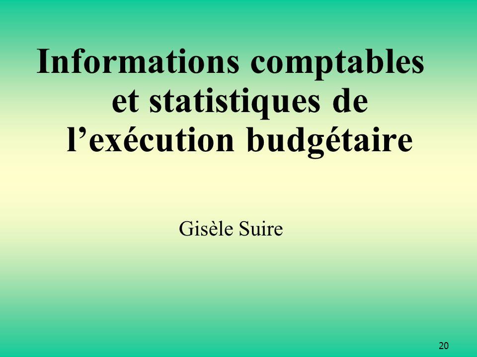 Informations comptables et statistiques de l'exécution budgétaire