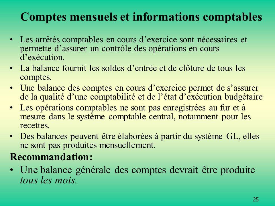 Comptes mensuels et informations comptables