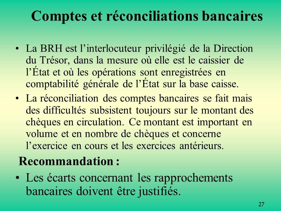 Comptes et réconciliations bancaires