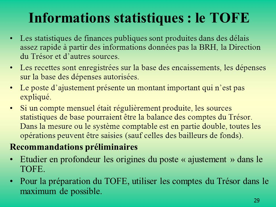Informations statistiques : le TOFE