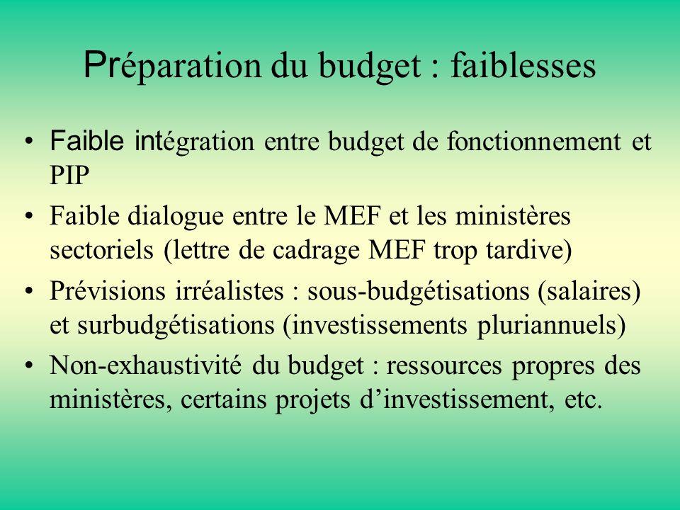 Préparation du budget : faiblesses