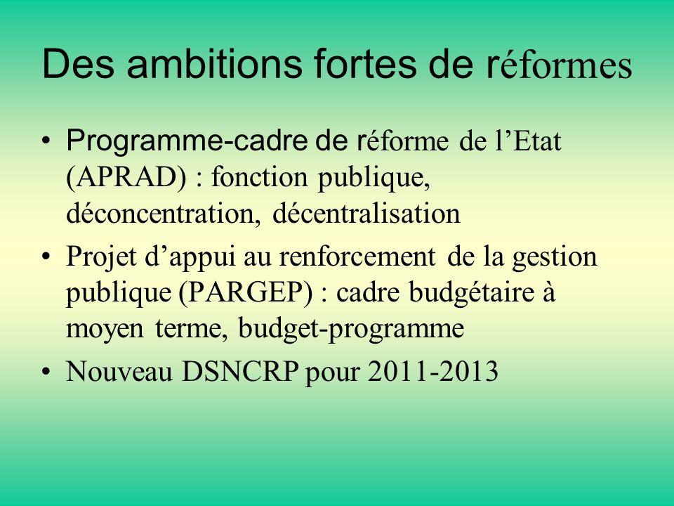Des ambitions fortes de réformes