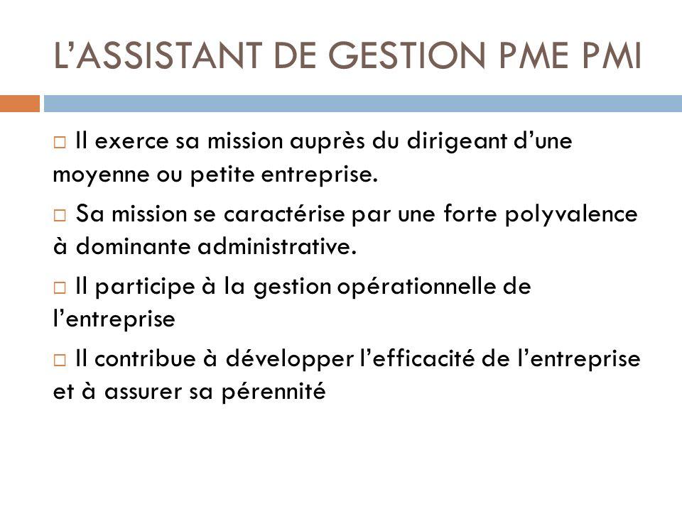L'ASSISTANT DE GESTION PME PMI