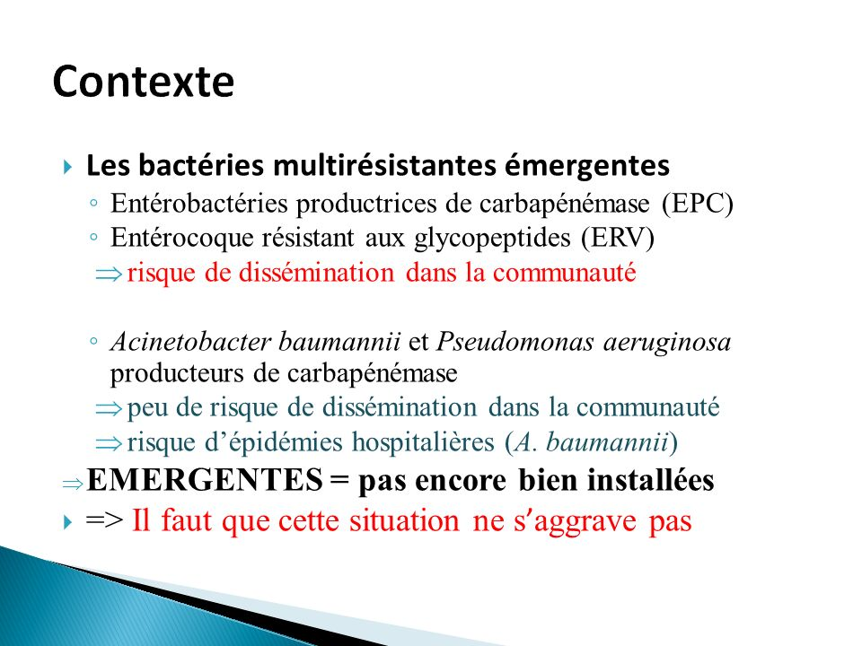 Contexte Les bactéries multirésistantes émergentes