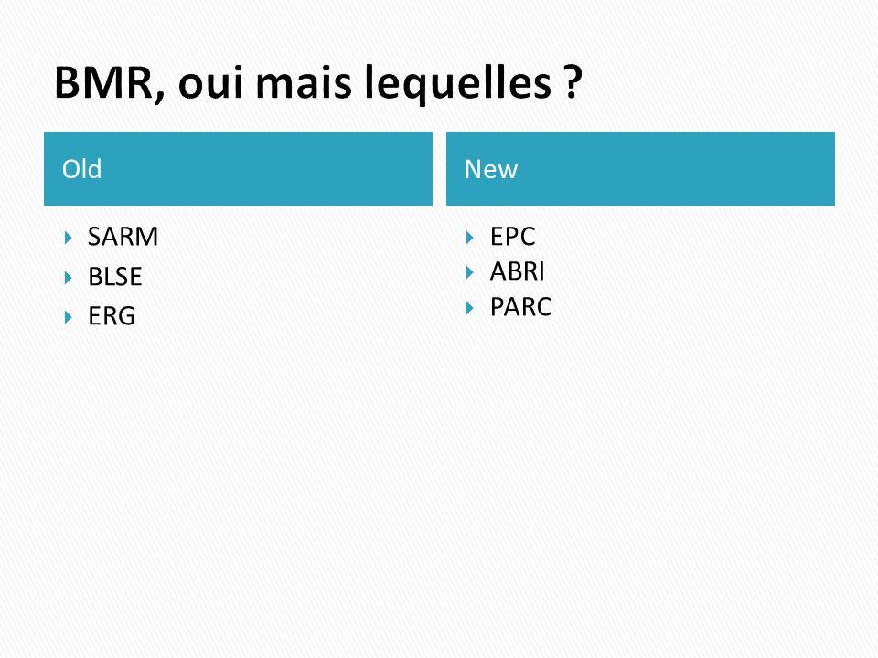 BMR, oui mais lequelles Old New SARM BLSE ERG EPC ABRI PARC