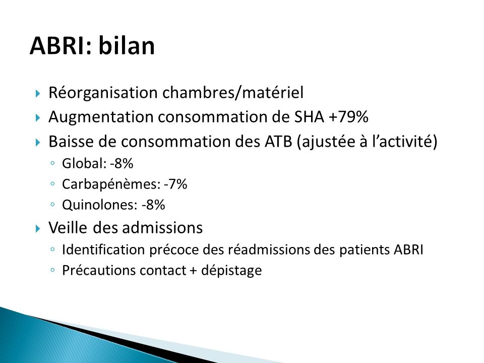 ABRI: bilan Réorganisation chambres/matériel