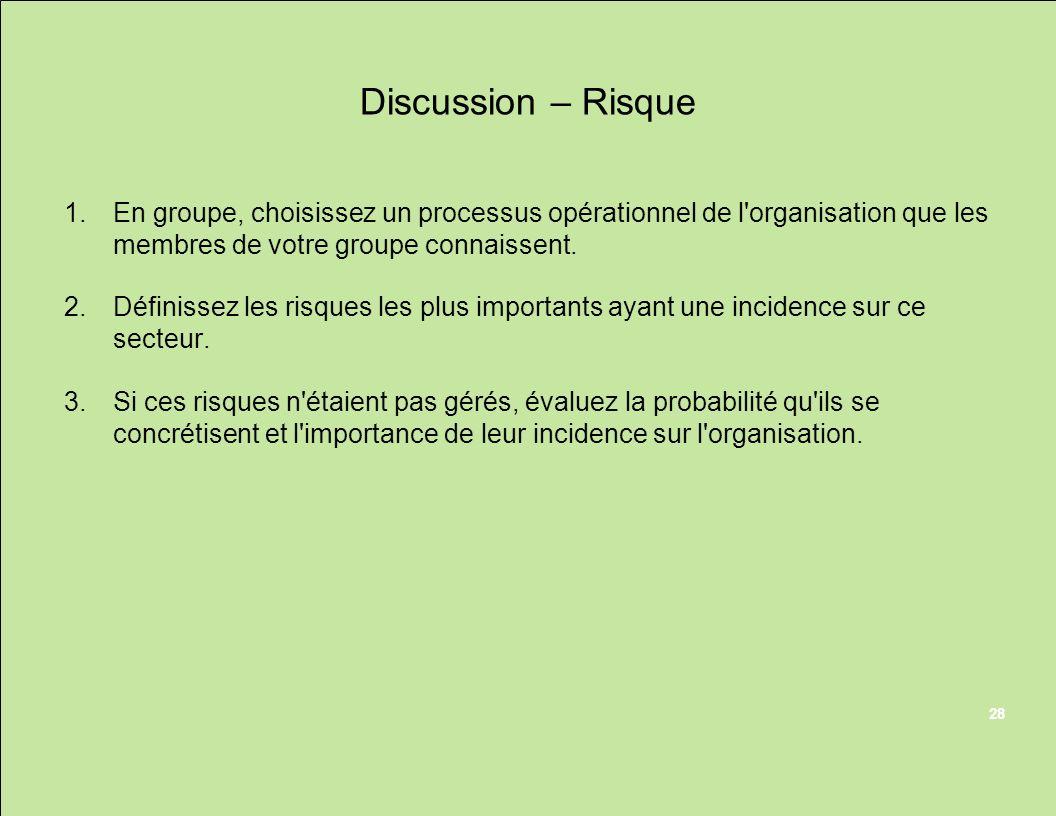 Discussion – Risque En groupe, choisissez un processus opérationnel de l organisation que les membres de votre groupe connaissent.