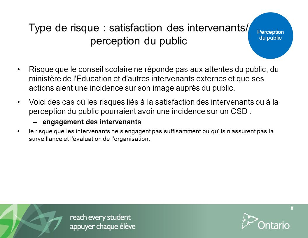 Type de risque : satisfaction des intervenants/ perception du public